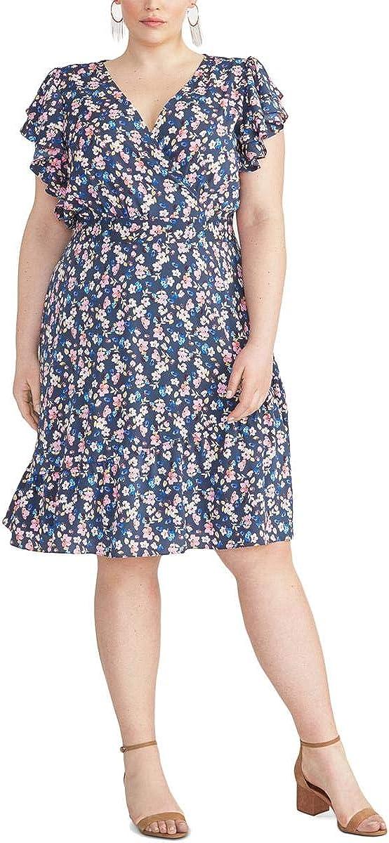 RACHEL Rachel Roy Women's Plus Size Floral Surplice Flounce Dress