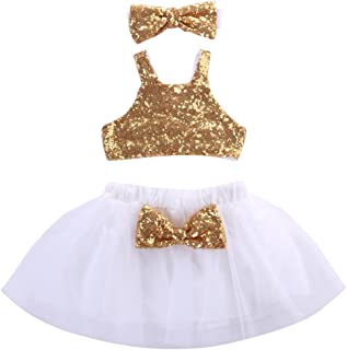 Little Baby Girls Sparkle Sequins Tops Tulle Tutu Skirt Princess 3Pcs Outfits