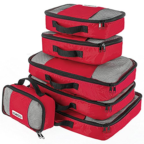 Savisto Packing Cubes, 6-teiliges Packtaschen Set für Urlaub, Reisen, Flugreisen - Ordnungssystem für Koffer, Handgepäck, Trolley, Reisetasche und Rucksack - Packwürfel S/M/L/XL (6 Pack) - Rot