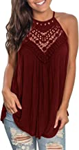 GAMISOTE Womens Sleeveless Floral Crochet Tunic Summer Halter Lace Swing Shirts Tank Tops