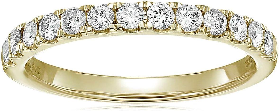 Vir Jewels 1/2 cttw Certified I1-I2 Diamond Wedding Band 14K Yellow Gold Prong Set