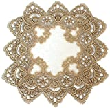 Doily Boutique Square Place Mat or Doily in Gold European Lace and Antique White Fabric, Size 14 inches