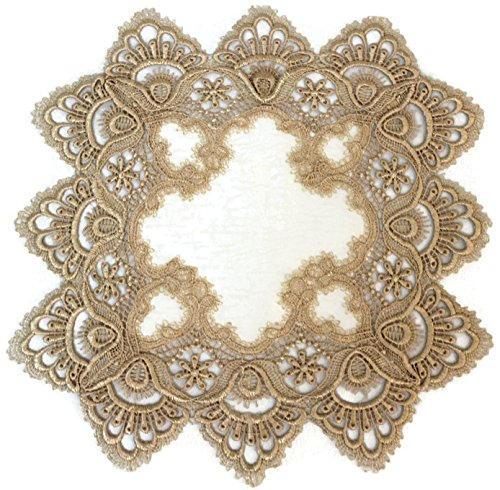 Doily Boutique Square Place Mat or Doily in Gold European Lace and...