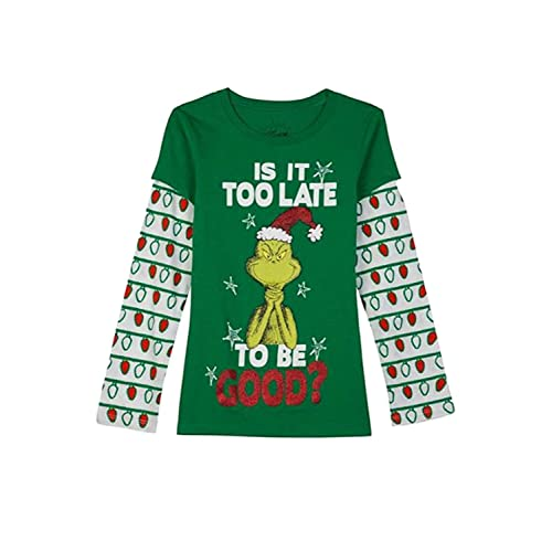 38621a12fc5 Dr. Seuss Girls is It Too Late to Be Good Grinch Holiday T-Shirt