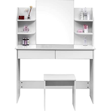 WOLTU MB6044ws Tavolo da Trucco Grande Specchiera con Specchio Sgabello Organizer per Cosmetici in Legno Bianco