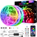 100ft LED Strip Lights RGB Led Light Strip with Bluetooth Remote App Controller Color Changing 5050 LED Rope Lights Strip Sync to Music for Bedroom, Party, Bar, Home, Kitchen, Christmas