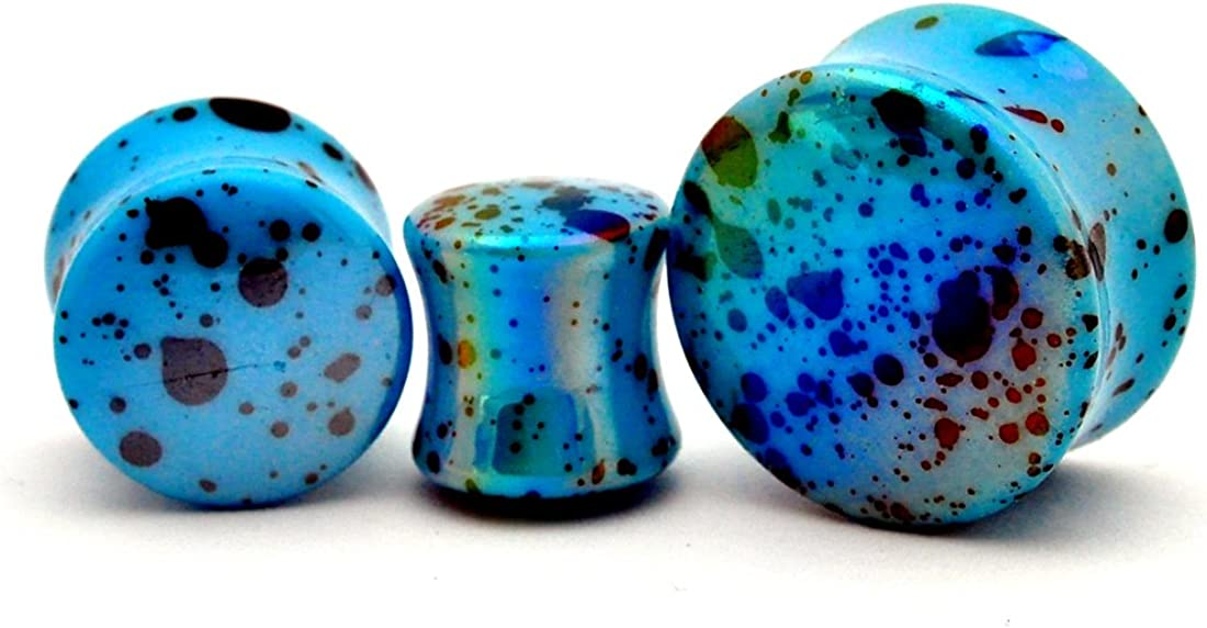Mystic Metals Body Jewelry Pair of Blue Opalescent Splatter Acrylic Plugs Double Flare (PA-410)