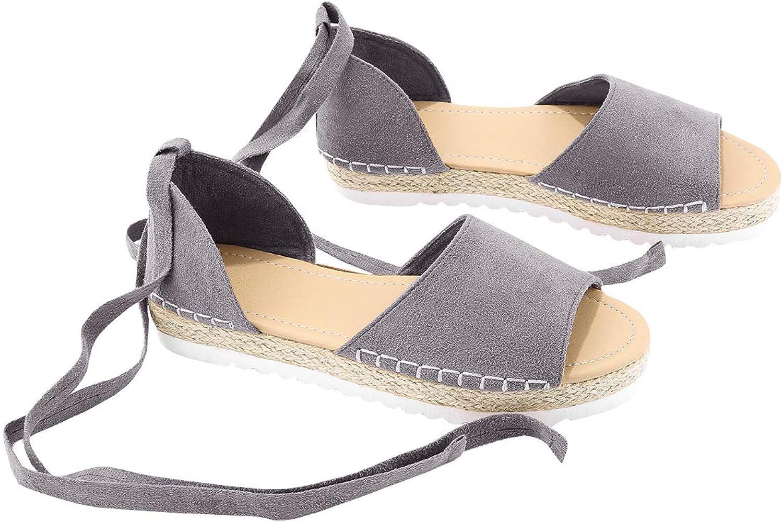 FISACE Womens Summer Espadrille Ankle Strap Flat Sandals Peep Toe Flip-Flop shoes