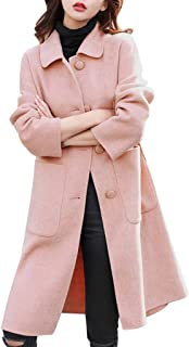 Funnygals - Trench Coat Single Breasted Long Sleeve Turn-Down Collar Wool Blend Long Coats BJackets Overcoat with Pocket