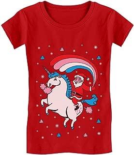 Tstars - Santa Riding Unicorn Rainbow Ugly Xmas Girls' Fitted Kids T-Shirt