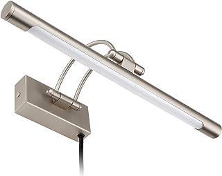 LEONLITE LED Picture Light, Full Metal Artwork Lamp with Swivel Lamp Head, 8W (40W Eqv.), Plug-n-Play & Hardwire, UL-Listed Power Cord, 3000K Warm White, CRI90+, Arc Arm, 560Lm, Satin Nickel Finish