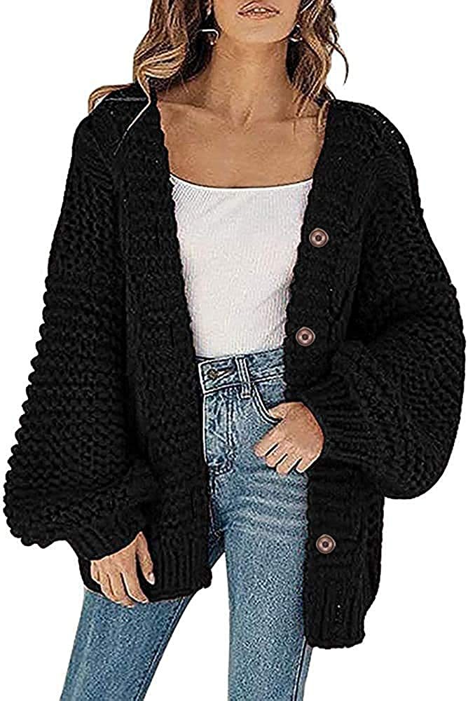 Womens Plus Size Chunky Kint Cardigans Button Down Open Front Oversized Lantern Sleeve Sweaters Coats