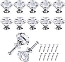 JRing 10 stuks zilveren en transparante deurknopen, zinklegering Crystal Drawer Pull meubelgreep met schroef voor slaapkam...
