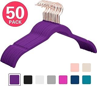 MIZGI Premium Velvet Shirt Hangers (Pack of 50) - Non Slip Felt Dress Hangers Dark Purple - Copper/Rose Gold Hooks,Space Saving Clothes Hangers (Dark Purple)