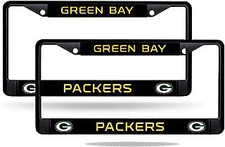 Rico Green Bay Packers NFL Black Metal (2) License Plate Frame Set