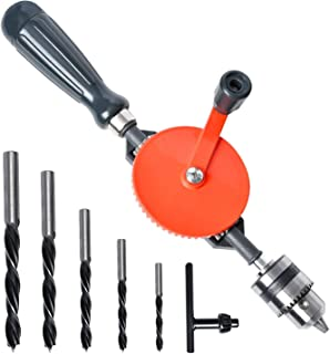 Hand Drill Akamino Powerful and Speedy Manual Hand Drill With Anti Slip Handle and S/S cast 5 Pieces Jaw Chucks for Wood P...
