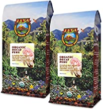 Java Planet, Organic Coffee Beans, Decaf Peru Single Origin, Gourmet Medium Dark Roast of Arabica Whole Bean Coffee, Water Processed Decaffeinated, Certified Organic, Two 1 LB Bags