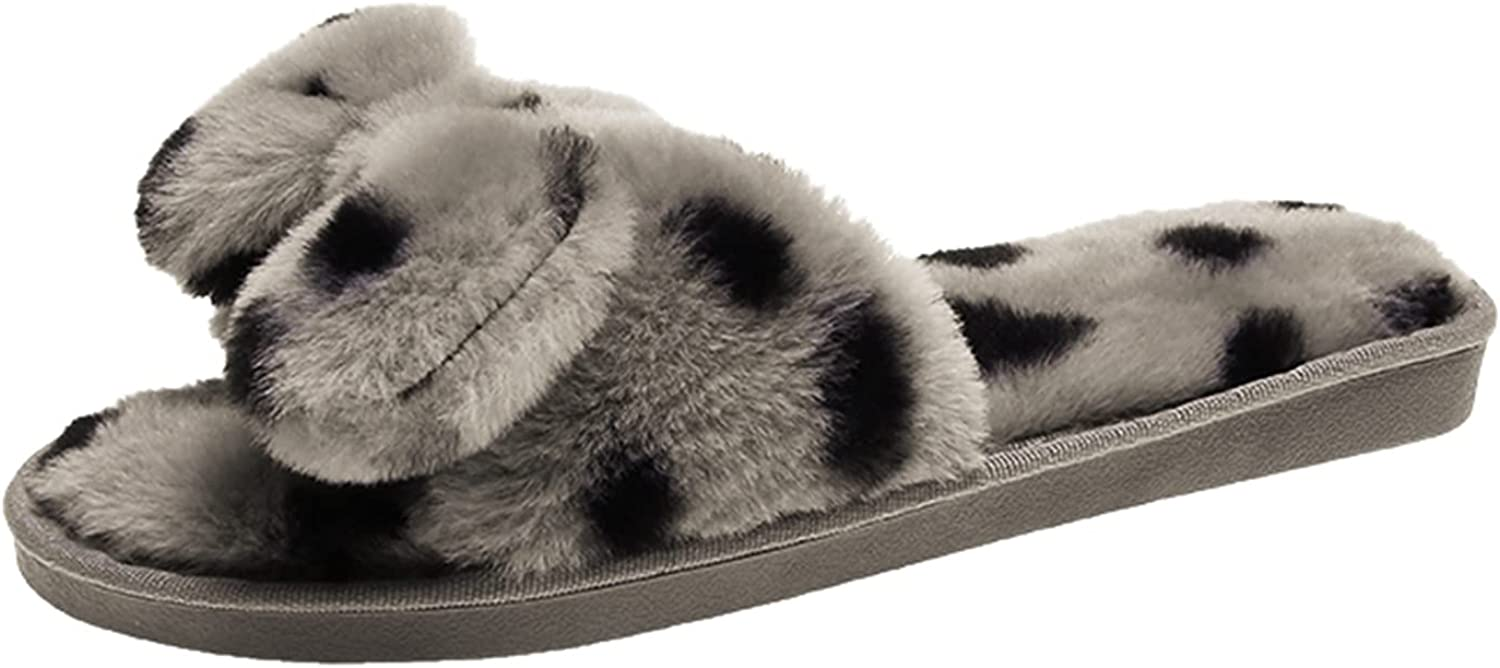 Gibobby House Slippers for Women,Women's Causal Fur Fluffy Flat Slippers Fuzzy Indoor Slippers Non-Slip Outdoor Sandals