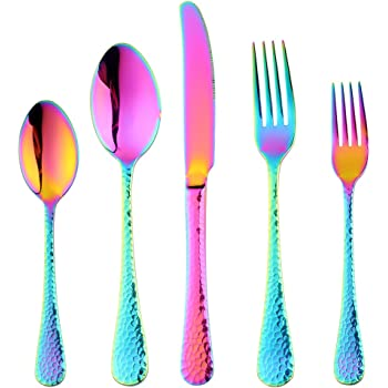 Bisda 5-Piece Rainbow Silverware Flatware Set Service for 1 Stainless Steel Cutlery Set Include Dinner Knife Table Fork Table Spoon Salad Fork Tea Spoon for Wedding, Dishwasher Safe