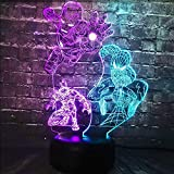 Iron Man Spider Man Night Light Marvel Theme Comic Manga LED Table Lamp Mixed 7 Color USB Change 3D Optical Light for Boy Bedroom Home Decor Mood Illusion Xmas Boy Gift(Mixed Spider Man Panther)