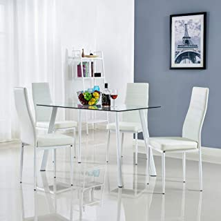 Magnificent Amazon Com White Table Chair Sets Kitchen Dining Download Free Architecture Designs Remcamadebymaigaardcom