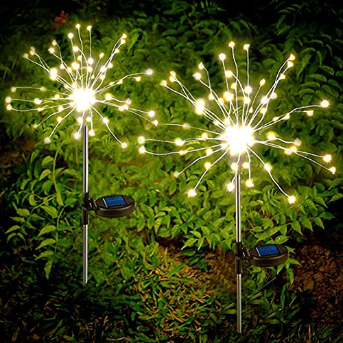 Outdoor Solar Fireworks Lights Copper Wires String Starburst Light DIY Flowers Trees for Walkway Patio Lawn Backyard Pathway Party Garden Decorative Lights 2 Packs (TY-Warm White)