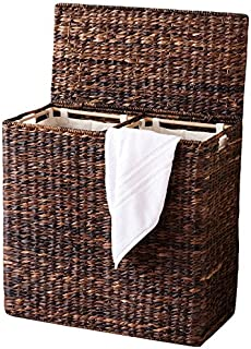 BirdRock Home Oversized Divided Hamper with Liners (Espresso)   Made of Natural Woven Abaca Fiber   Organize Laundry   Cut-Out Handles for Easy Transport   Includes 2 Machine Washable Canvas Liners