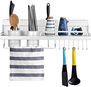 OurLeeme Pan de cocina Racks, estantes para botellas de condimentos montados en la pared de acero inoxidable con ganchos, porta utensilios para palillos, ranuras para cuchillos, porta toallas (50cm)