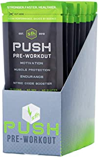 Push Pre-Workout Powder (Fruit Punch) by SFH | Best Tasting 5g BCAA's for Muscle Repair | Non-Dairy, No Artificial Flavors, Colors, or Sweeteners (Single Serve)