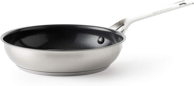 KitchenAid Sartén Antiadherente de Acero Inoxidable, Apta para Todo Tipo de Cocinas, Inducción, Horno y Lavavajillas, 24 cm, Plata