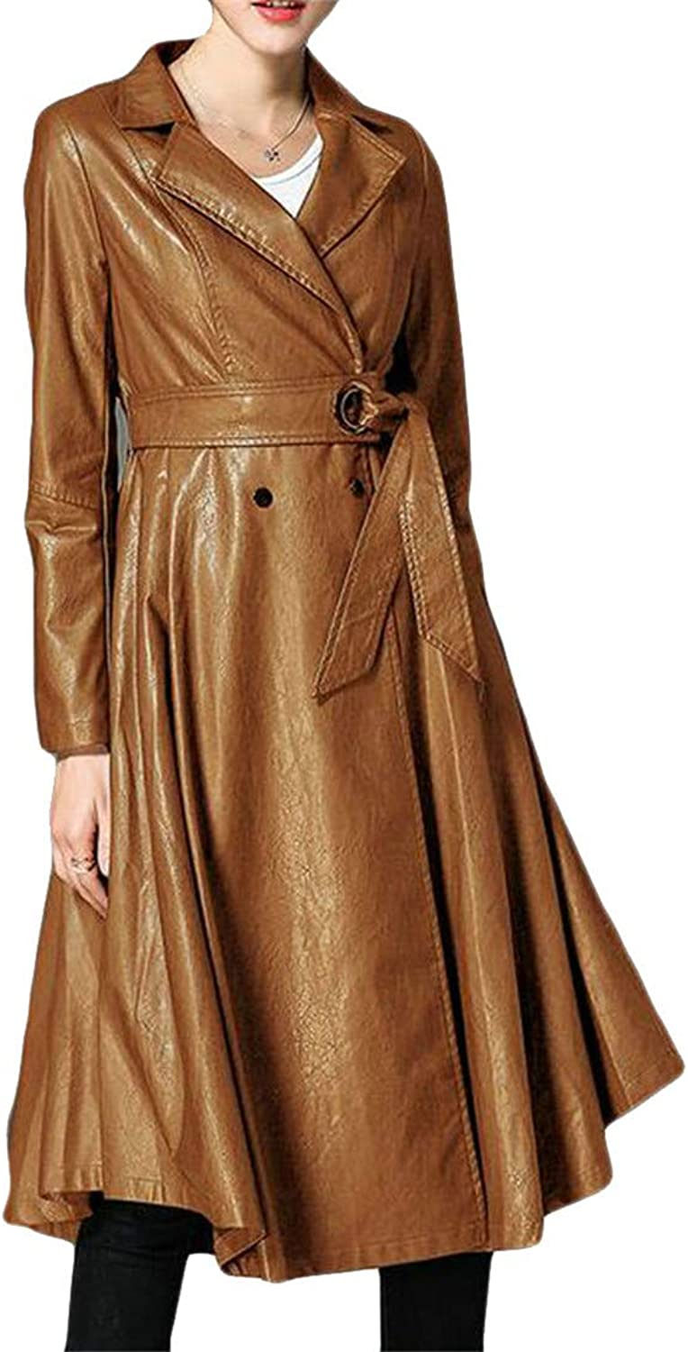 Blyent Womens Lapel Neck Belt Autumn Faux Leather Pleated Swing Jacket Trenchcoats