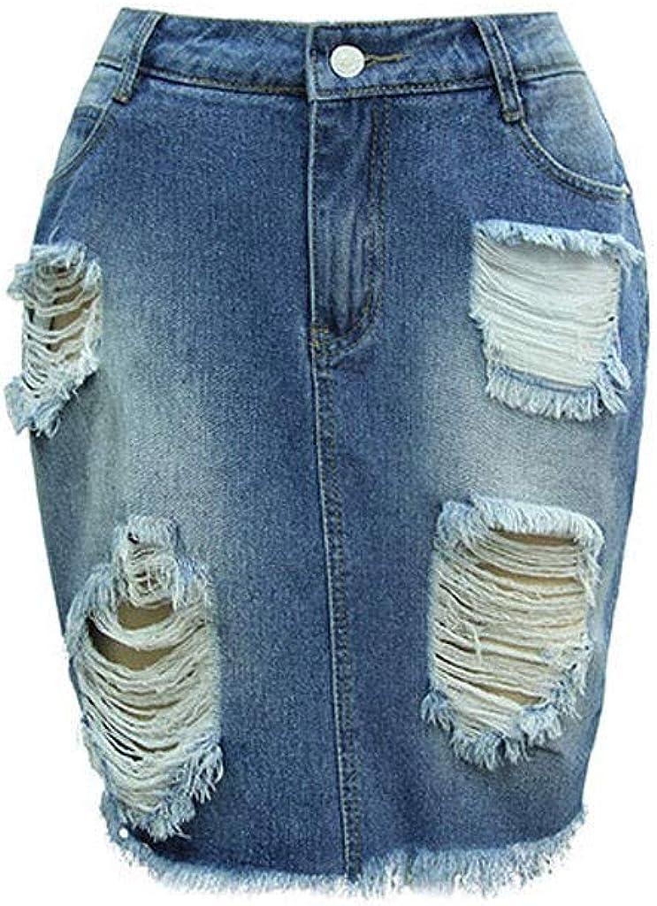 VEZAD Women Hight Waisted Plus Size Pocket Button Denim Skirt Stretch Length Jeans