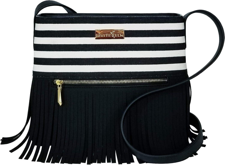 Boho City Fringe Crossbody Handbag   White Elm   Aztec, bluee Stripes, Black Stripes   Canvas & Vegan Leather