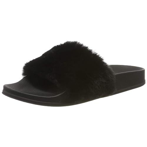 f009c080ac6 APIKA Women s Flip Flop Faux Fur Slipper Fuzzy Fluffy Comfy Sliders Open  Toe Slip on