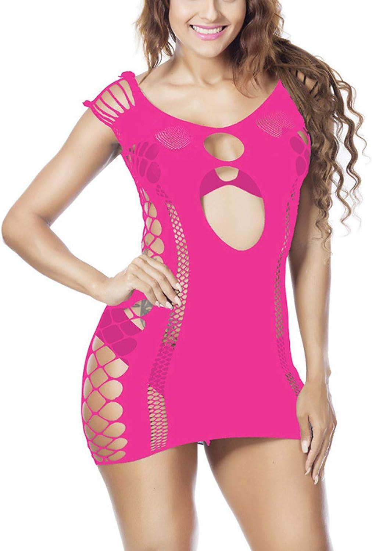FUNEY Plus Size Womens Lingerie Fishnet Seamless Mesh Dress Babydoll Bodysuit Sexy Temptation Perspective Uniform