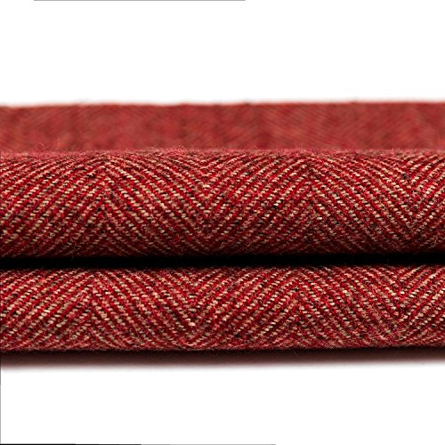McAlister Textilien Herringbone Tweed Stoff Baumwolle in Rot 140 cm Breite traditionelles gewobenes Fischgräten-Muster als Meterware Textil für Polster, Kissen, Vorhänge per Meter