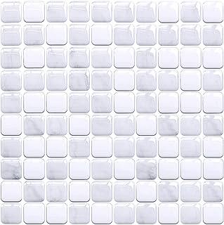 "Joqixon 3D Mosaic Peel and Stick Backsplash Tiles for Kitchen Bathroom 4 Sheets, Vinyl Decorative Wall Tiles Self Adhesive Subway Tile Sticker, 14.6""x5"""