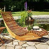 Deuba Schwungliege FSC®-zertifiziertes Akazienholz Ergonomisch Wippfunktion Gartenliege Sonnenliege Relaxliege Saunaliege - 4