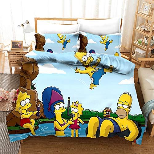Simpson - Set copripiumino e federa, 3D con stampa anime 3D, set di 3 pezzi, altezza 200 x 200 cm