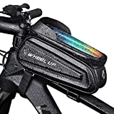 Bike Phone Holder Mount Front Frame Bag Waterproof Bicycle Top Tube Handlebar Bags with Reflective Anti-Glare Suitable for 7 Inch Mobile Phone