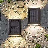 Denary - Lámpara solar para exterior, resistente al agua, aplique de ahorro de energía superior e inferior, se utiliza en jardines, garajes de terraza, puertas de entrada, caminos, 2 unidades