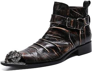 YOWAX Zapatos de Cuero Botas de Cuero con Puntera metálica de Empalme de Moda Masculina para Informal, Fiesta, Personaliza...