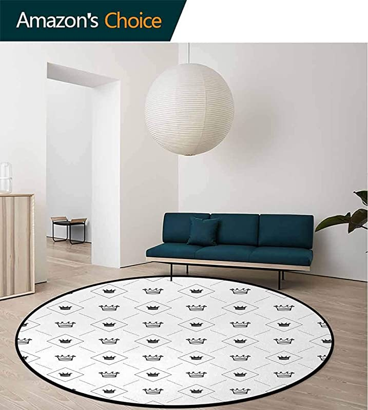 Abstract Modern Machine Washable Round Bath Mat Minimalist Stylized Modern Motif Cute Crowns And Dots Artistic Graphic Design Non Slip Soft Floor Mat Home Decor Diameter 71 Inch Black White