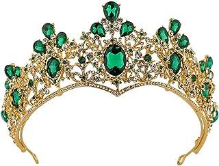 FELICILII Corona Barocco Colore Corona Tiara Fascia Capelli Gioielli da Sposa Verde