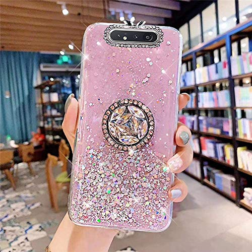 Coque pour Samsung Galaxy A80,Galaxy A90 Coque Transparent Glitter avec Support Bague,étoilé Bling Paillettes Motif Silicone Gel TPU Housse de Protection Ultra Mince Clair Souple Case,Rose