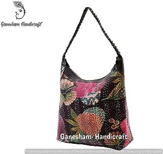 Indian Handmade Bohemian Kantha Shoulder Bags Hippe Top-Handle Cotton Handbag Boho Hobo Tote Bag Simple Purse Fashion Designer Sling Bags Indian Messenger Bag Floral Shopping Bag for Woman and Girls