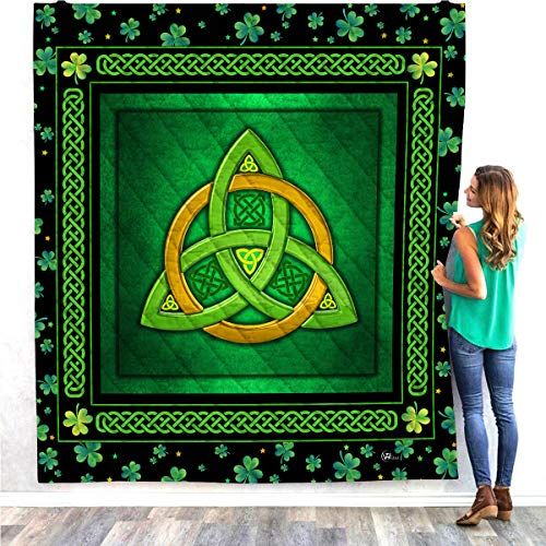 VTH Global Celtic Trinity Knot Quilt Pattern Blanket Comforters with Reversible Cotton King Queen Full Twin Size Irish Shamrock Clover Quilted Birthday Gifts