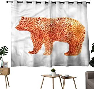 Gabriesl reducing Noise Darkening Curtains Grommets Curtain for Living Room Cabin,Watercolor Bear Silhouette Two Panels W108 x L72