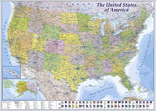 Close Up XXL USA Landkarte Premium Poster - Riesen Amerika Karte mit Allen Staaten - 140 x 100cm - MAPS IN Minutes
