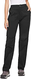 BALEAF Women's Hiking Roll Up Pants Lightweight Traveling Outdoor Pants Water Resistant UPF 50 Black L